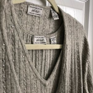 Grey beaded cashmere sweater set